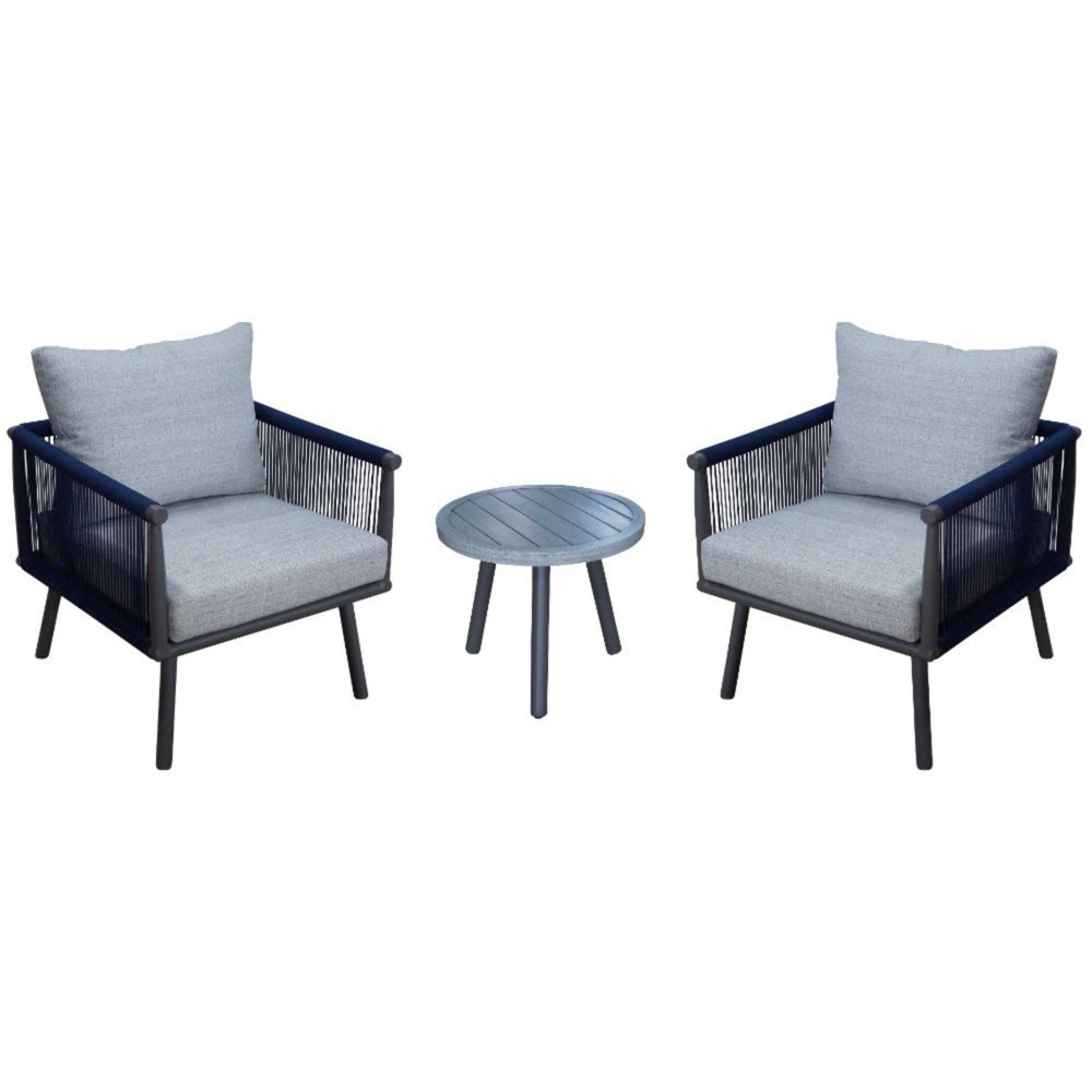 Spring Valley 3pc Set With 2 Club Chairs 38 1 End Table Blue Courtyard Casual