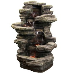 """38"""" Stacked Shale Outdoor Water Fountain with LED Lights - Sunnydaze Decor"""