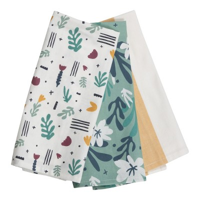 Set of 3 Floral Pattern 27 x 18 Inch Woven Kitchen Tea Towels - Foreside Home & Garden