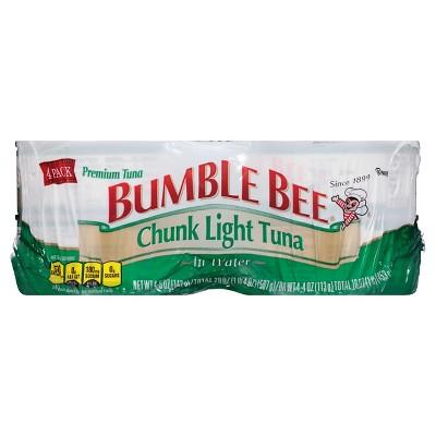 Bumble Bee Chunk Light Tuna in Water - 5oz/4ct
