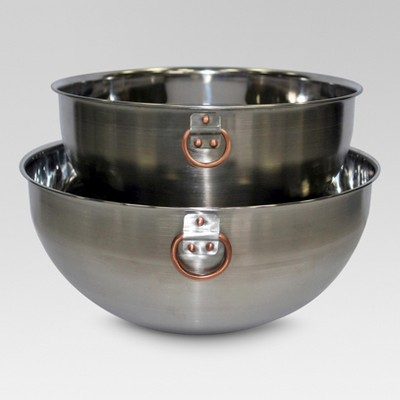 Stainless Steel Mixing Bowl Set of 2 with Copper Ring - Threshold™