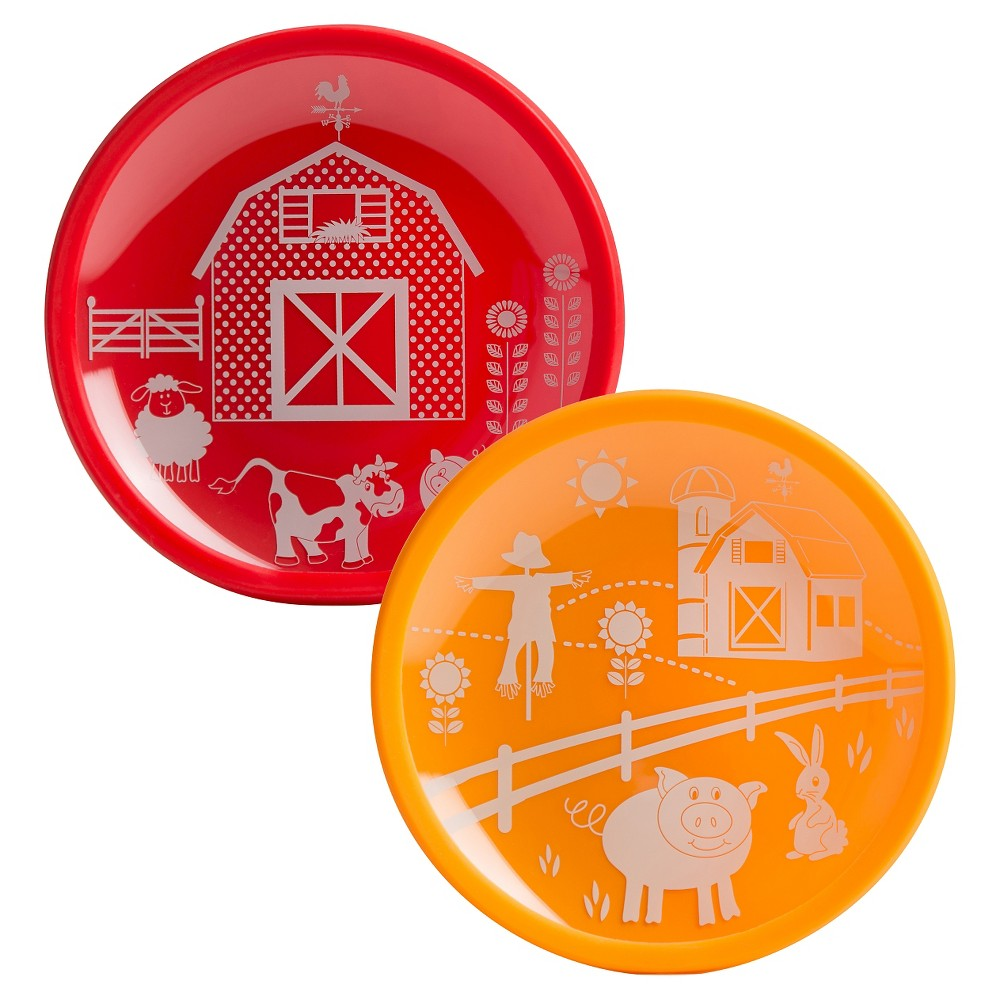 "Image of ""Brinware Barn Yard Tempered Glass and Silicone Plate - 7.5""""x7.5"""" Set of 2, Barn Red"""