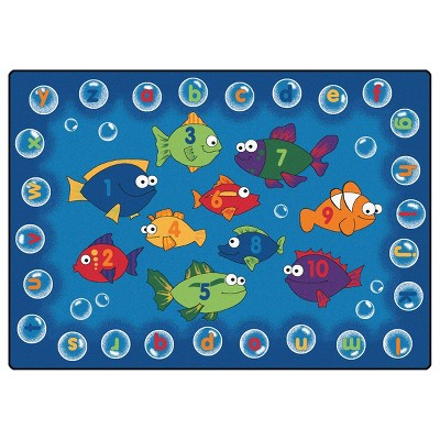 6'x9' Rectangle Woven Fish Accent Rug Blue - Carpets For Kids