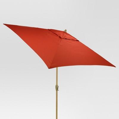 6.5' Square Umbrella - Red - Light Wood Finish - Threshold™