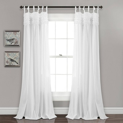 "Set of 2 84""x40"" Lydia Ruffle Window Curtain Panels White - Lush Décor"