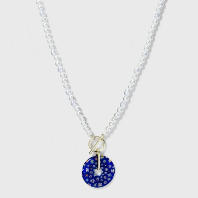 SUGARFIX by BaubleBar Floral Pendant Link Chain Necklace - Blue