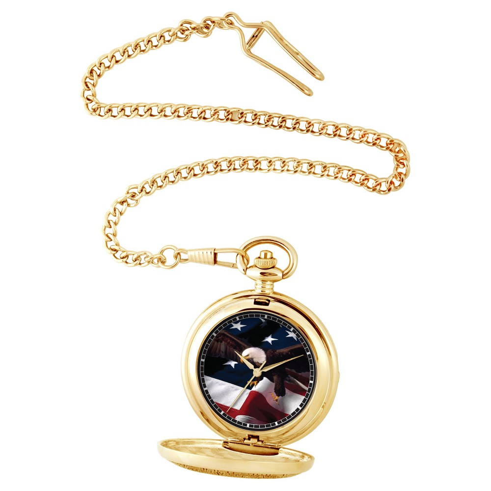 Image of Men's eWatchfactory Flag & Eagle Pocket Watch - Gold, Size: Small