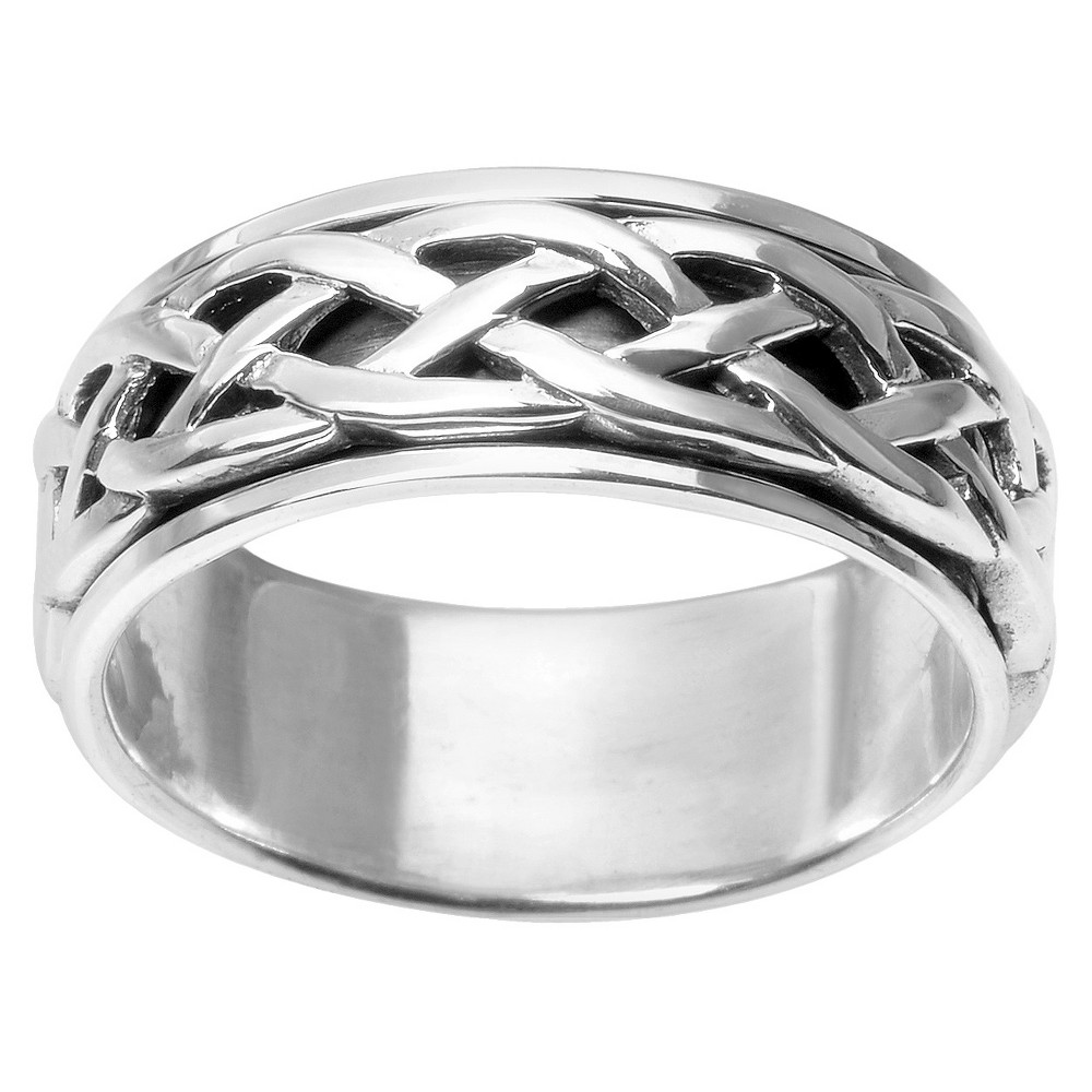 Men's Daxx Celtic Spinner Band in Sterling Silver - Silver (12) (8mm), Size: 9