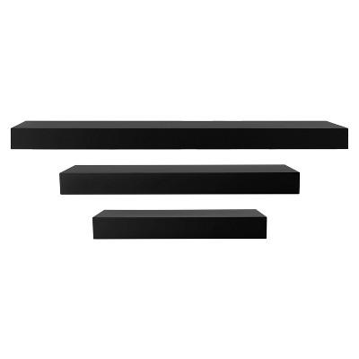 Maine Decorative Wall Ledge Shelf Set of 3 - Black
