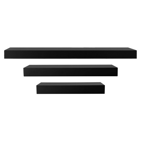 Maine Decorative Wall Ledge Shelf Set of 3 - Black - image 1 of 4