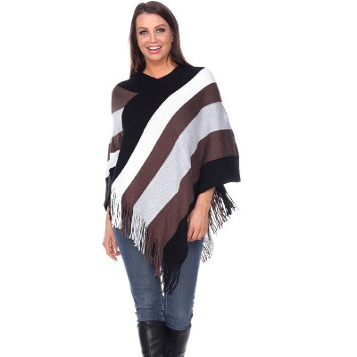 White Mark Womens Stripe Casual Fit Three Quarter Sleeve V Neck Shawl Sweater - Multicolored One Size Fits Most