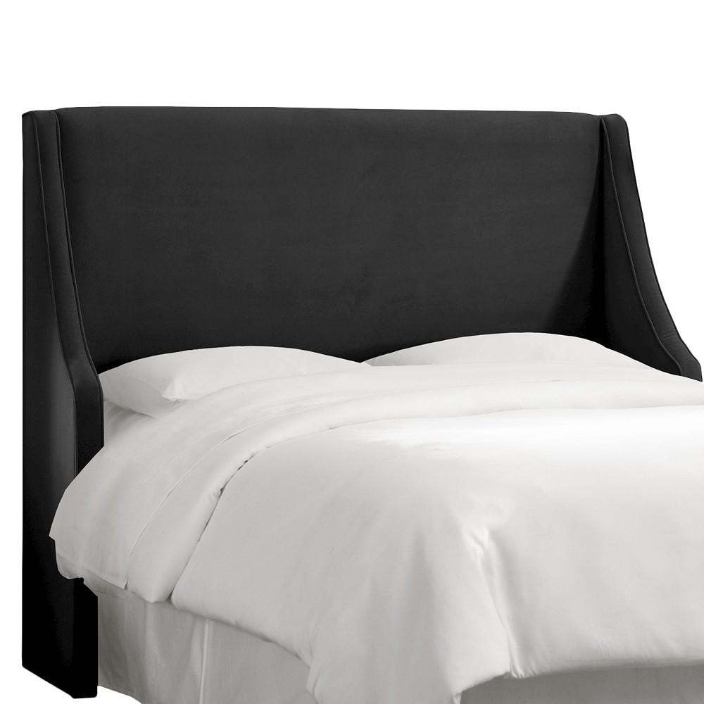 Full Swoop Arm Wingback Headboard Velvet Black - Skyline Furniture