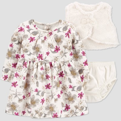 Baby Girls' 3pc Floral Dress with Diaper Cover with Bib - Just One You® made by carter's Wine Red/Off-White 9M