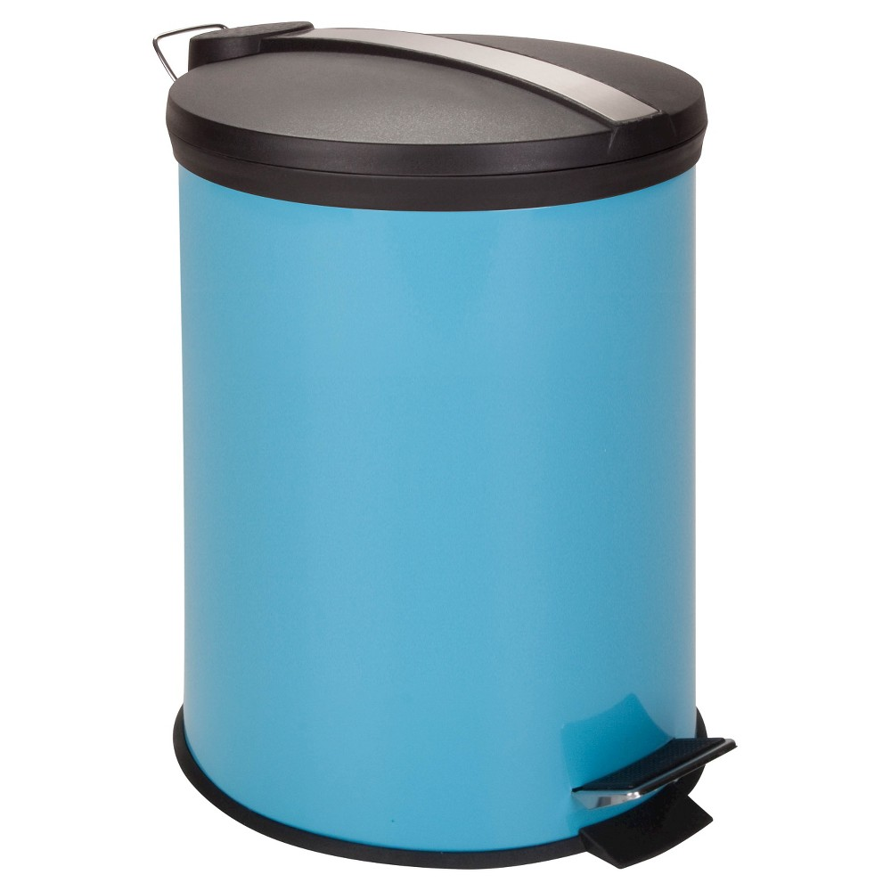 Honey-Can-Do Steel Round Trash Can with Lid - Blue (12L)