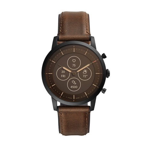 Fossil Hybrid Smartwatch HR Collider 42mm - Black with Dark Brown Leather - image 1 of 4