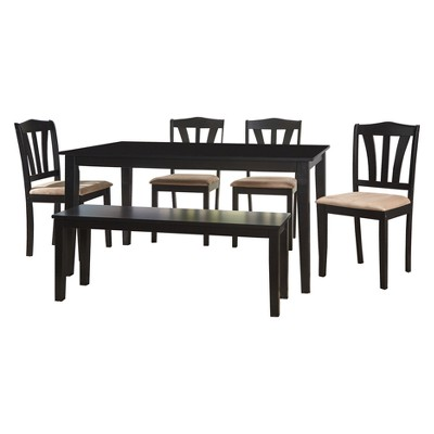 6pc Mainfield Dining Set with Bench - Black - Buylateral