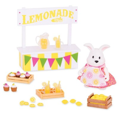 Li'l Woodzeez Miniature Playset with Animal Figurine 25pc - Lemonade Stand Set