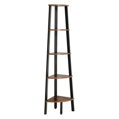 "62.6"" 5 Tier Ladder Style Wooden Corner Shelf with Iron Framework Brown/Black - Benzara"