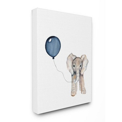 "16""x1.5""x20"" Baby Elephant with Blue Balloon Stretched Canvas Wall Art - Stupell Industries"