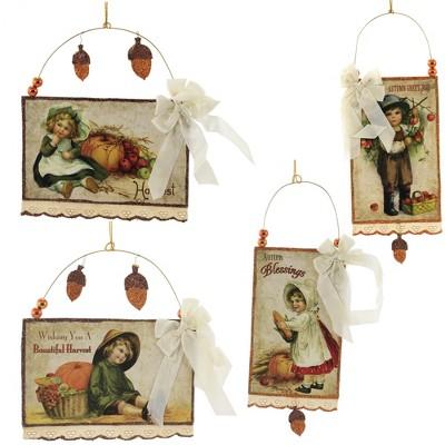 "Holiday Ornament 8.5"" Harvest Postcard Thanksgiving  Fall  -  Tree Ornaments"