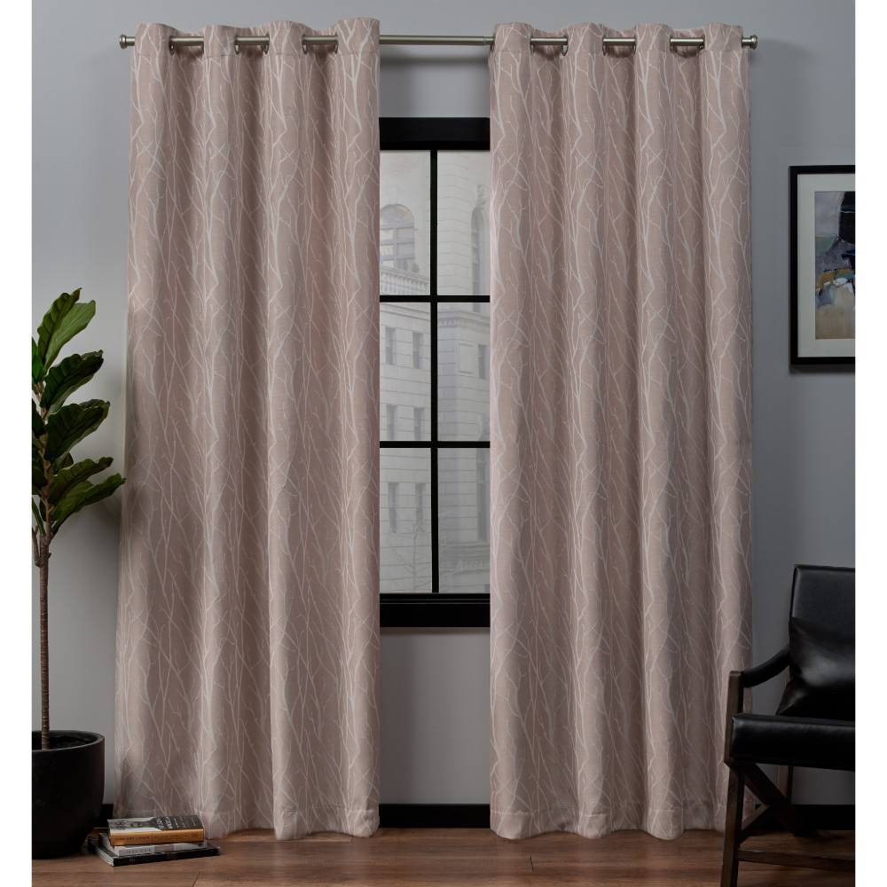 """Image of """"52""""""""x84"""""""" Forest Hill Woven Blackout Grommet Top Window Curtain Panel Pair Rose Blush - Exclusive Home"""""""
