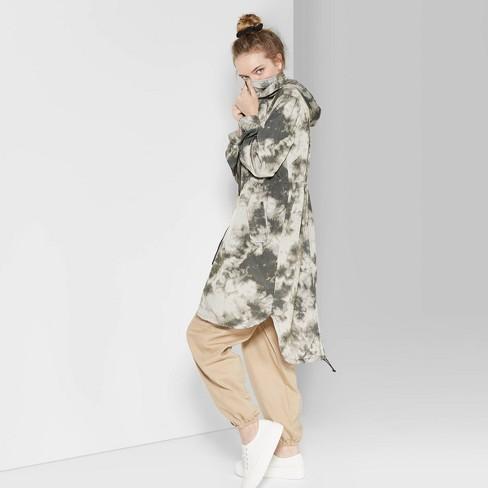 Women's Zip-Up Tie Dye Long Windbreaker Jacket - Wild Fable™ Olive - image 1 of 3