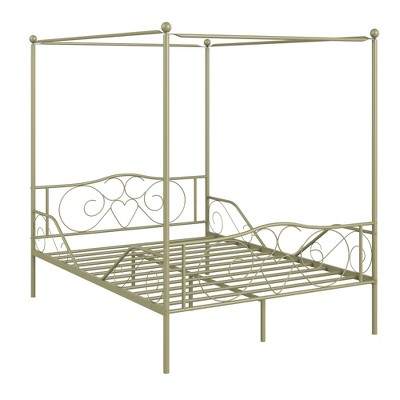 Costway Full Size Metal Canopy Bed Frame 4 Poster Steel Slats Headboard Footboard Pewter\ Gold\Pink