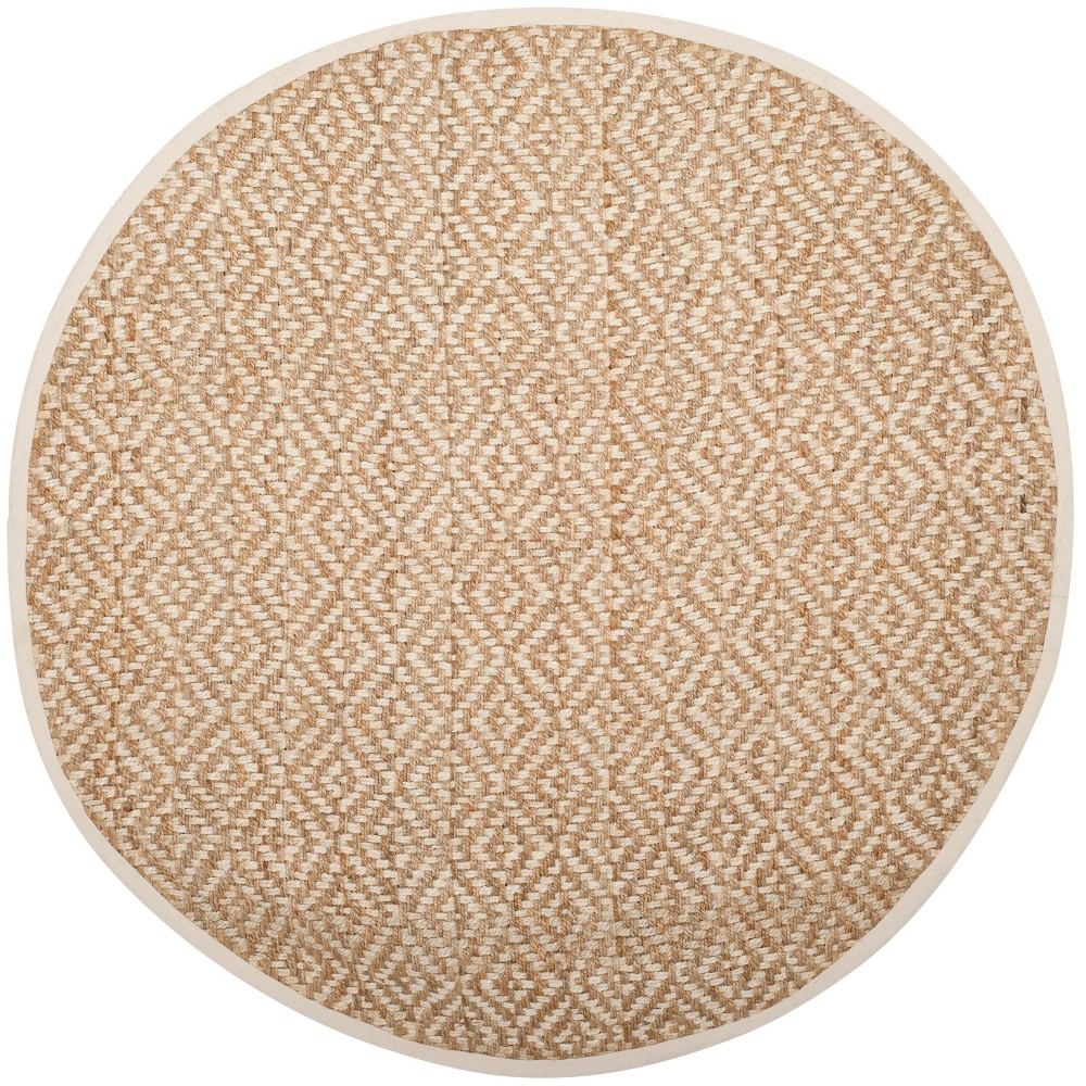 6' Solid Woven Round Area Rug Ivory/Natural - Safavieh, White