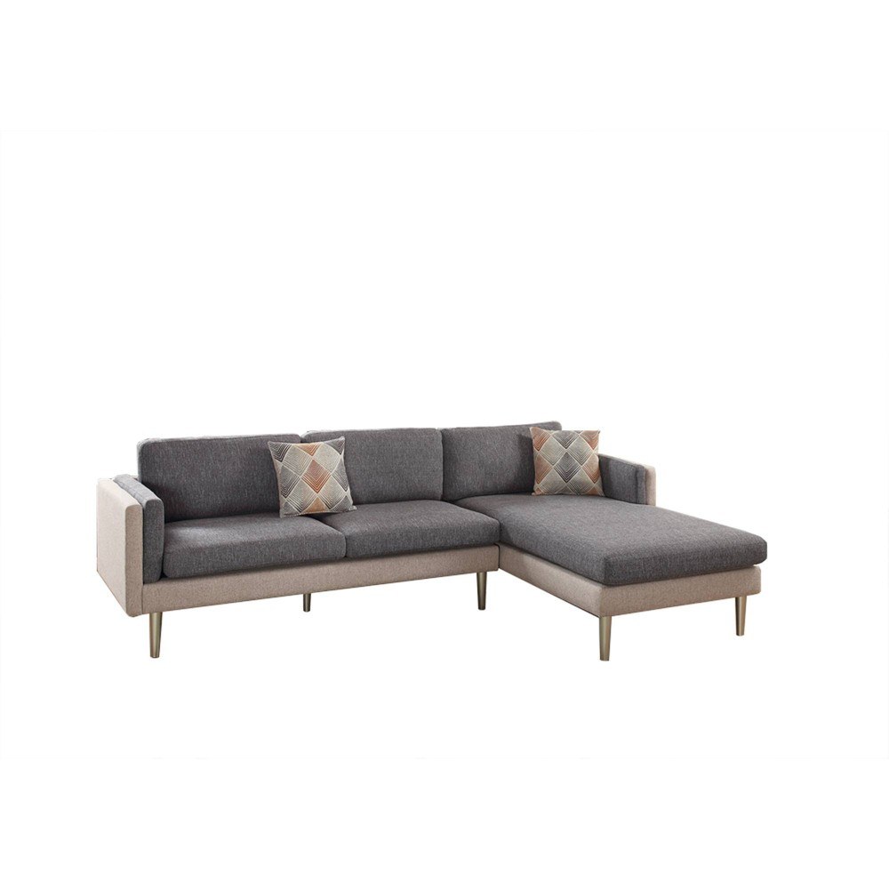 Image of 2pc Plushed Cushion Sectional Set With Accent Pillows Gray - Benzara