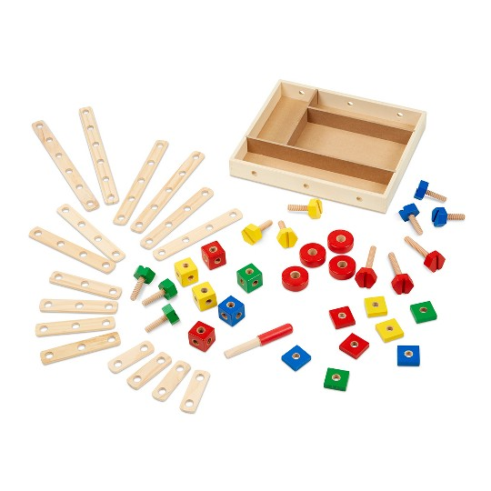 Melissa & Doug Wooden Construction Building Set in a Box (48pc) image number null