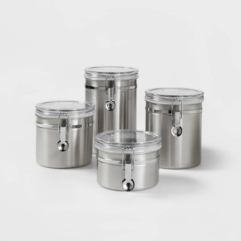 4pc Stainless Steel Food Storage Canister - Threshold™ - image 1 of 3