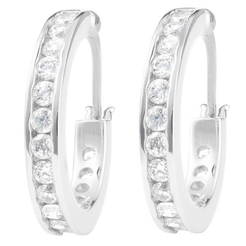 4/5 CT. T.W. Round-cut CZ Pave Set 18 MM Hoop Earrings in Sterling Silver - Silver - image 1 of 2