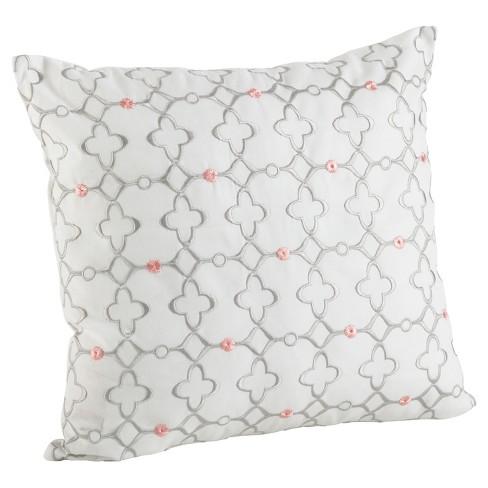 White Moroccan Tile Design Throw Pillow 18 Saro Lifestyle
