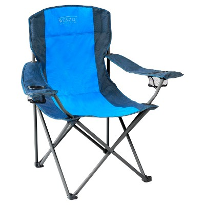 Wenzel Oversized Captain Chair with Carrying Case - Blue/Gray