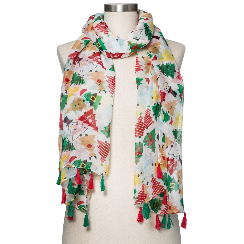 Women's Christmas Tree Scarf - Manhattan Scarf Co., White