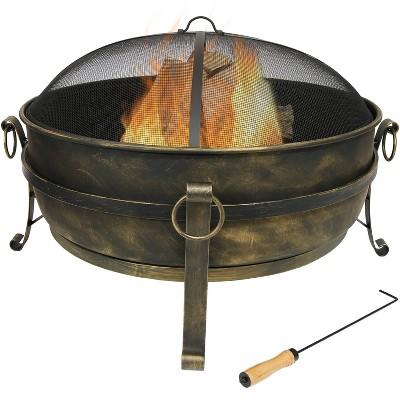"""Cauldron 34"""" Steel Wood Burning Fire Pit Bowl - Round - Sunnydaze Decor"""
