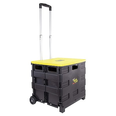 dbest products Heavy Duty Collapsible Plastic Original Quik Cart with Handle and Rubber Wheels for Portable Storage and Organization, Black