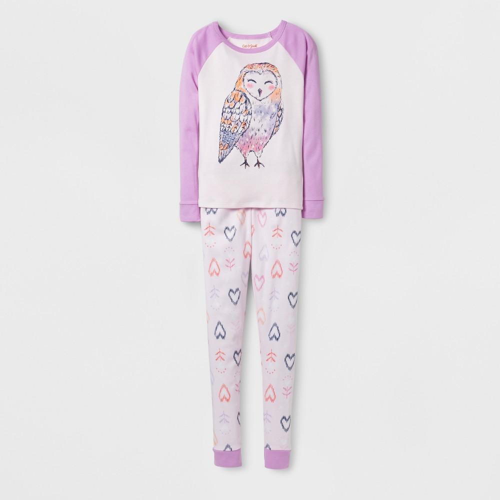 Girls' Owl Tight Fit Pajama Set - Cat & Jack Purple 10