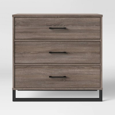 Mixed Material 3 Drawer Dresser Gray - Room Essentials™