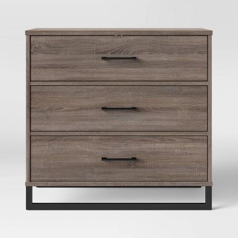 Mixed Material 3 Drawer Dresser Medium Brown Room Essentials