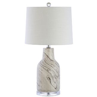 23u0022 Webb Ceramic LED Table Lamp Gray/White (Includes Energy Efficient Light Bulb) - JONATHAN Y