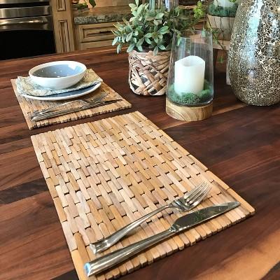 2pk Teak Wood Placemats- Hip-o Modern Living