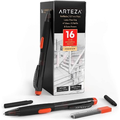 Arteza Box of #2 HB Mechanical Pencils with Refills and Erasers, 0.7mm, Number 2 Bulk Pencil School Supply - 16 Pack (ARTZ-9211)