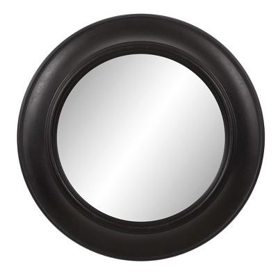 "24""x24"" Rustic Round in Distressed Black Decorative Wall Mirror Black - Patton Wall Decor"