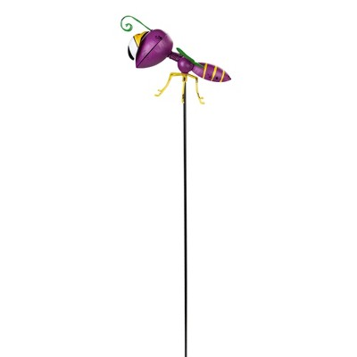 """Napco 30"""" Purple and Green Metal Wasp Garden Stake"""