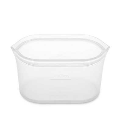 Zip Top 32oz Reusable 100% Platinum Silicone Container Large - Clear