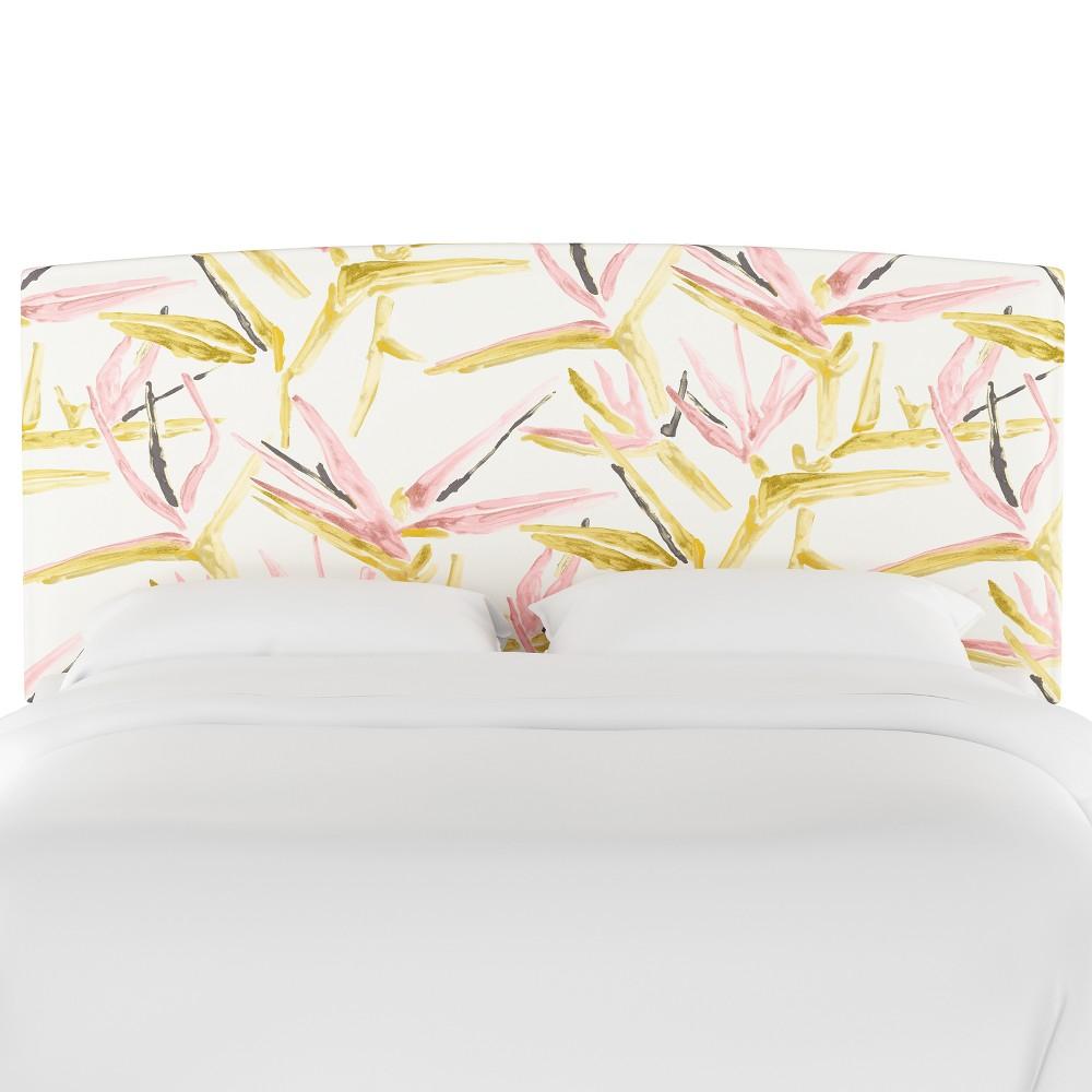 Upholstered Headboard Queen Pink & Cream Tropical Grass - Opalhouse