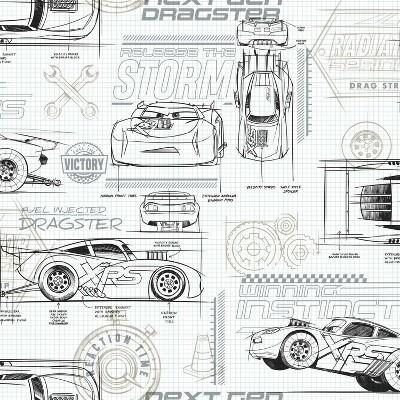 Disney Pixar Cars Schematic Peel and Stick Wallpaper - RoomMates
