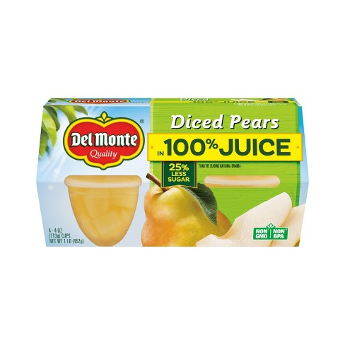 Del Monte Diced Pears In Light Syrup Fruit Cups 4pk - 4oz - image 1 of 1