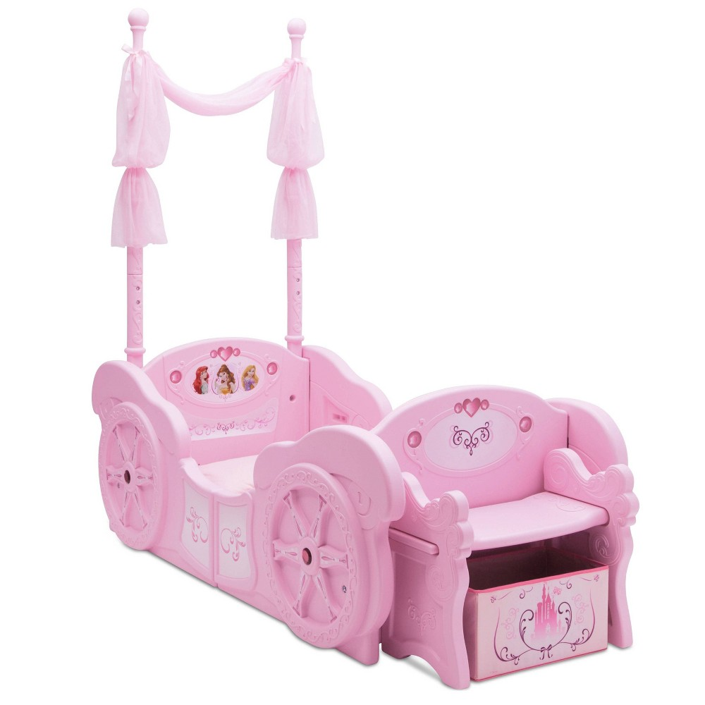 Image of Toddler/Twin Disney Princess Carriage Convertible Bed - Delta Children
